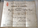 Captain James Certificate